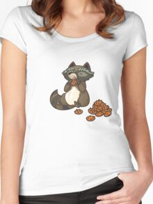 Funny little raccoon eating cookies Women's Fitted Scoop T-Shirt