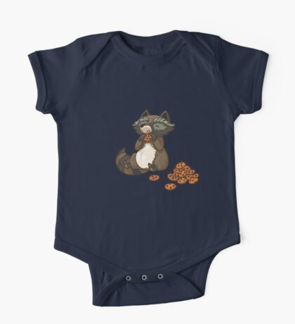 Funny little raccoon eating cookies One Piece - Short Sleeve