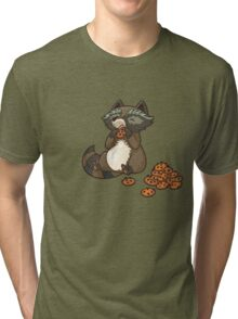 Funny little raccoon eating cookies Tri-blend T-Shirt