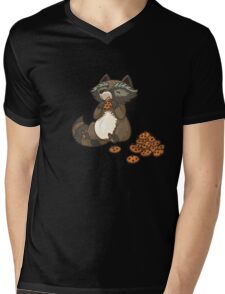 Funny little raccoon eating cookies Mens V-Neck T-Shirt