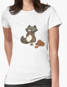 Funny little raccoon eating cookies Womens Fitted T-Shirt