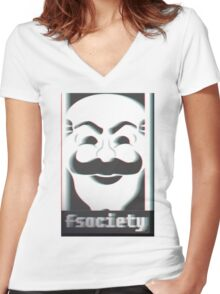 MR. ROBOT F*CK SOCIETY Women's Fitted V-Neck T-Shirt