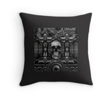 Skulls on metal background Throw Pillow