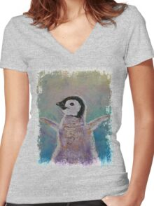 Baby Penguin Women's Fitted V-Neck T-Shirt