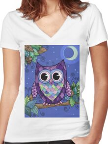 Owl Night 2 Women's Fitted V-Neck T-Shirt