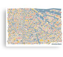 Amsterdam City Map Canvas Print