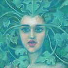 Green Lady, pastel painting, fantasy art, green forest by clipsocallipso