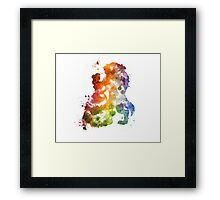 Beauty & The Beast Watercolour Design Framed Print