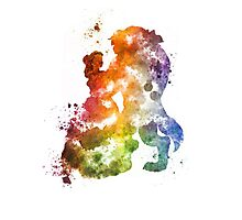 Beauty & The Beast Watercolour Design Photographic Print