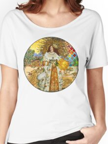 Fine Art Vintage Medieval Portrait Collage Woman Women's Relaxed Fit T-Shirt