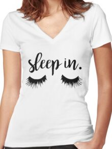 Sleep In Eyelash Print Women's Fitted V-Neck T-Shirt