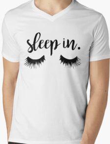 Sleep In Eyelash Print Mens V-Neck T-Shirt