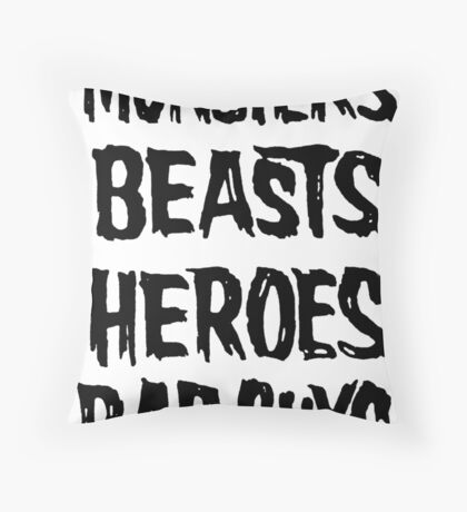 monsters beasts heroes bad guys Throw Pillow