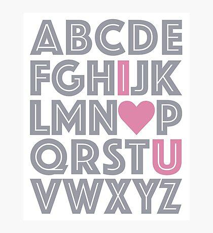 ABC Baby Nursery Room Decor - PINK & GREY GRAY Photographic Print
