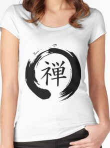 Zen Mindfulness Ensō (Dhyāna) Women's Fitted Scoop T-Shirt