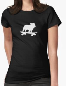 Skateboarding Bulldog Womens Fitted T-Shirt