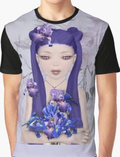 Surreal portrait of a girl with iris bouquet Graphic T-Shirt