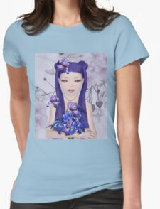 Surreal portrait of a girl with iris bouquet Womens Fitted T-Shirt