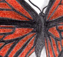 3D butterfly - orange Sticker