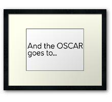 Oscar Cool Text Movie Awards Framed Print