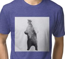 Owlbear in Forest (Black & White) Tri-blend T-Shirt