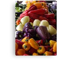 Colorful Peppers, Jersey City Farmers Market, Jersey City, New Jersey Canvas Print