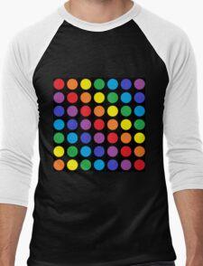 Rainbow Polka Dots Black Men's Baseball ¾ T-Shirt