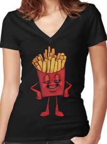 French Fry High Women's Fitted V-Neck T-Shirt