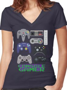 Console Gamer Women's Fitted V-Neck T-Shirt