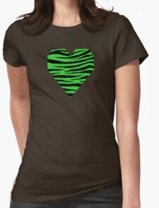 0384 Lime Green Tiger Womens Fitted T-Shirt