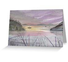 Boats on the lake at dawn. Greeting Card
