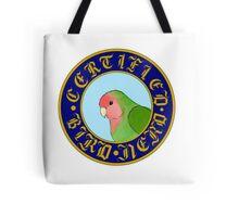Certified Bird Nerd (Peach Faced LoveBird) Tote Bag