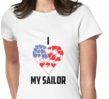 I Love My Sailor - Flag Heart Womens Fitted T-Shirt