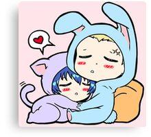 Kannao - Bunny and Cat Canvas Print