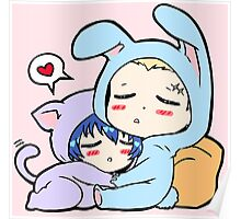 Kannao - Bunny and Cat Poster