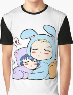 Kannao - Bunny and Cat Graphic T-Shirt
