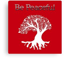 Be Peaceful Tree - White Canvas Print