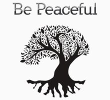 Be Peaceful Tree - Black One Piece - Short Sleeve