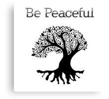 Be Peaceful Tree - Black Canvas Print