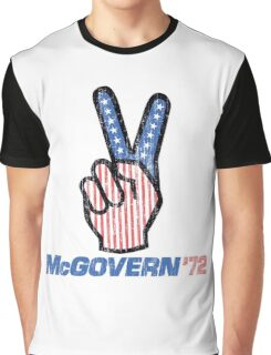 George McGovern Hand Peace Sign 1972 Presidential Campaign Graphic T-Shirt