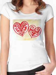 ethnic styled hearts Women's Fitted Scoop T-Shirt