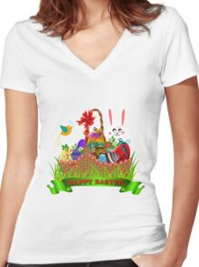 Easter basket Women's Fitted V-Neck T-Shirt
