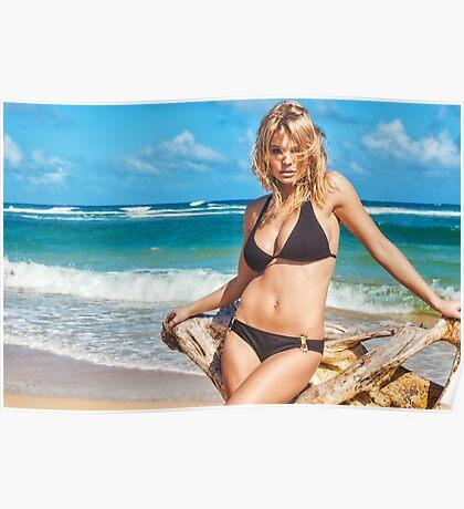 Sexy Young Blonde Bikini Model Posing on Hawaiian Beach Poster