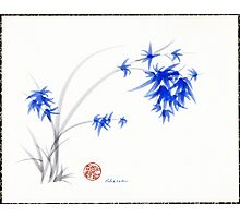 """""""Soft Blue Flowers"""" Chinese Painting by Rebecca Rees Photographic Print"""