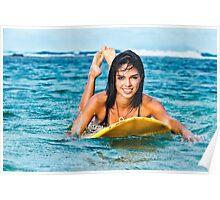 Beautiful Young Woman Paddling on Surfboard Poster