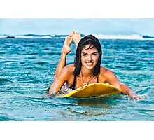Beautiful Young Woman Paddling on Surfboard Photographic Print