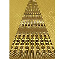 Art Deco Skyscraper Shimmers with Faux Gold Background Photographic Print
