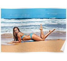 Sexy Young Bikini Model Posing on a Hawaiian Beach Poster