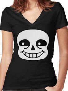 Sans Skull Women's Fitted V-Neck T-Shirt