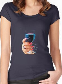 Glass of red wine Women's Fitted Scoop T-Shirt